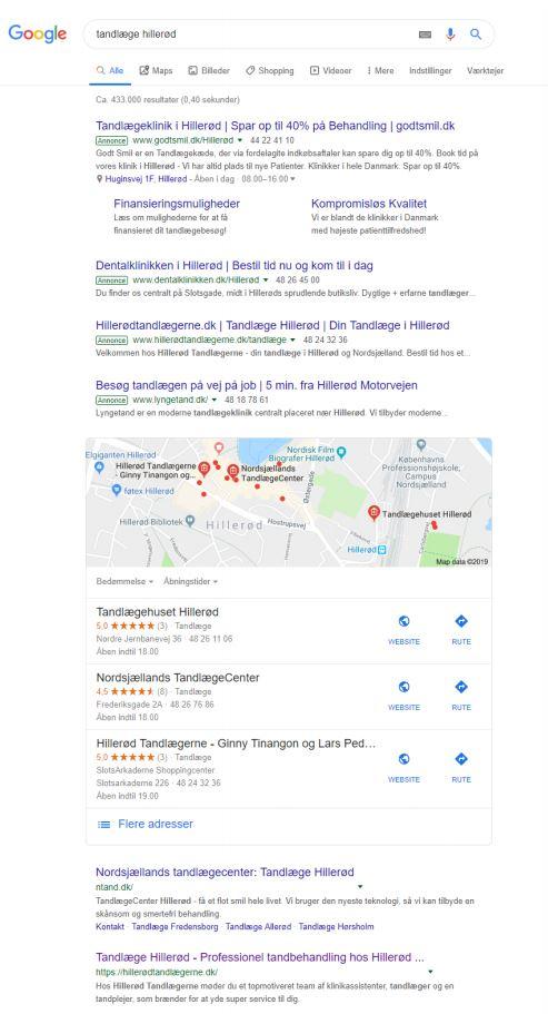 søgeresultat i google for lokale virksomheder